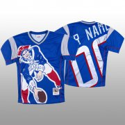 Wholesale Cheap NFL New England Patriots Custom Blue Men's Mitchell & Nell Big Face Fashion Limited NFL Jersey