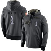 Wholesale Cheap NFL Men's Nike Carolina Panthers #1 Cam Newton Stitched Black Anthracite Salute to Service Player Performance Hoodie