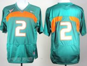 Wholesale Cheap Miami Hurricanes #2 With No Name Green Jersey