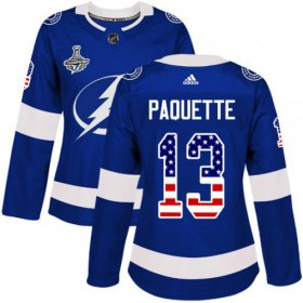 Cheap Adidas Lightning #13 Cedric Paquette Blue Home Authentic USA Flag Women\'s 2020 Stanley Cup Champions Stitched NHL Jersey