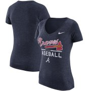 Wholesale Cheap Atlanta Braves Nike Women's Practice 1.7 Tri-Blend V-Neck T-Shirt Heathered Navy