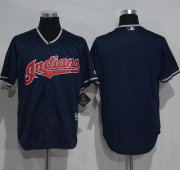 Wholesale Cheap Indians Blank Navy Blue New Cool Base Stitched MLB Jersey