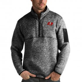 Wholesale Cheap Tampa Bay Buccaneers Antigua Fortune Quarter-Zip Pullover Jacket Heather Black