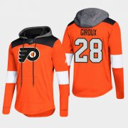 Wholesale Cheap Flyers #28 Claude Giroux Orange 2018 Pullover Platinum Hoodie
