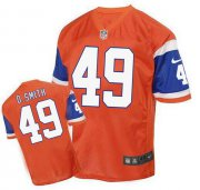 Wholesale Cheap Nike Broncos #49 Dennis Smith Orange Men's Stitched NFL Elite Throwback Jersey