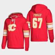 Wholesale Cheap Calgary Flames #67 Michael Frolik Red adidas Lace-Up Pullover Hoodie
