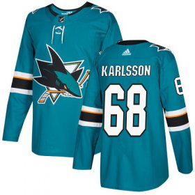 Wholesale Cheap Adidas Sharks #68 Melker Karlsson Teal Home Authentic Stitched Youth NHL Jersey