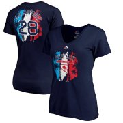 Wholesale Cheap Boston Red Sox #28 J.D. Martinez Majestic Women's 2019 Spring Training Name & Number V-Neck T-Shirt Navy