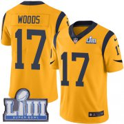 Wholesale Cheap Nike Rams #17 Robert Woods Gold Super Bowl LIII Bound Youth Stitched NFL Limited Rush Jersey