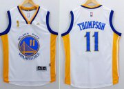 Wholesale Cheap Men's Golden State Warriors #11 Klay Thompson White 2015 Championship Patch Jersey