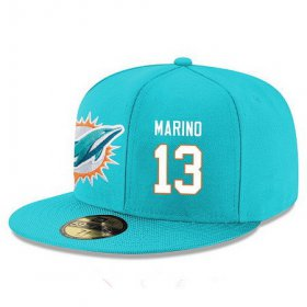 Wholesale Cheap Miami Dolphins #13 Dan Marino Snapback Cap NFL Player Aqua Green with White Number Stitched Hat