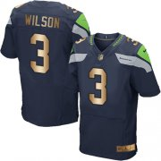 Wholesale Cheap Nike Seahawks #3 Russell Wilson Steel Blue Team Color Men's Stitched NFL Elite Gold Jersey