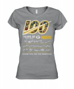 Wholesale Cheap Green Bay Packers 100 Seasons Memories Women's T-Shirt Gray