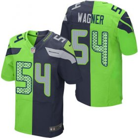 Wholesale Nike Seahawks #54 Bobby Wagner Steel Blue/Green Men\'s Stitched NFL Elite Split Jersey