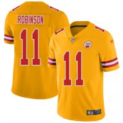 Wholesale Cheap Nike Chiefs #11 Demarcus Robinson Gold Youth Stitched NFL Limited Inverted Legend Jersey