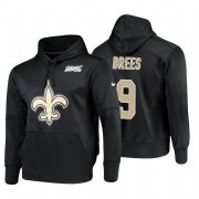 Wholesale Cheap New Orleans Saints #9 Drew Brees Nike NFL 100 Primary Logo Circuit Name & Number Pullover Hoodie Black