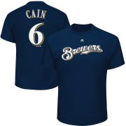 Wholesale Cheap Milwaukee Brewers #6 Lorenzo Cain Majestic Official Name & Number T-Shirt Navy