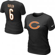 Wholesale Cheap Women's Nike Chicago Bears #6 Jay Cutler Name & Number T-Shirt Black