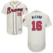 Wholesale Cheap Braves #16 Brian McCann Cream Flexbase Authentic Collection Stitched MLB Jersey