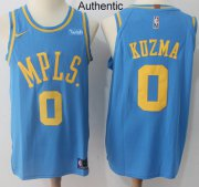 Wholesale Cheap Nike Los Angeles Lakers #0 Kyle Kuzma Royal Blue NBA Authentic Hardwood Classics Jersey
