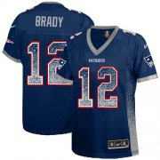 Wholesale Cheap Nike Patriots #12 Tom Brady Navy Blue Team Color Women's Stitched NFL Elite Drift Fashion Jersey