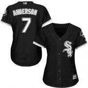 Wholesale Cheap White Sox #7 Tim Anderson Black Alternate Women's Stitched MLB Jersey