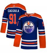 Wholesale Cheap Adidas Oilers #91 Drake Caggiula Royal Blue Sequin Embroidery Fashion Stitched NHL Jersey