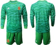 Wholesale Cheap Spain Blank Green Long Sleeves Goalkeeper Soccer Country Jersey