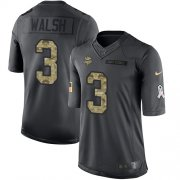 Wholesale Cheap Nike Vikings #3 Blair Walsh Black Men's Stitched NFL Limited 2016 Salute To Service Jersey
