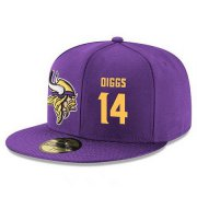 Wholesale Cheap Minnesota Vikings #14 Stefon Diggs Snapback Cap NFL Player Purple with Gold Number Stitched Hat