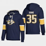 Wholesale Cheap Nashville Predators #35 Pekka Rinne Navy adidas Lace-Up Pullover Hoodie