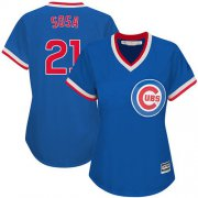 Wholesale Cheap Cubs #21 Sammy Sosa Blue Cooperstown Women's Stitched MLB Jersey
