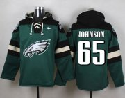 Wholesale Cheap Nike Eagles #65 Lane Johnson Midnight Green Player Pullover NFL Hoodie