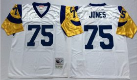 Wholesale Cheap Mitchell And Ness Rams #75 Deacon Jones White Throwback Stitched NFL Jersey