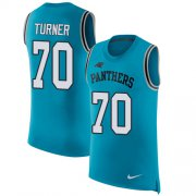 Wholesale Cheap Nike Panthers #70 Trai Turner Blue Alternate Men's Stitched NFL Limited Rush Tank Top Jersey