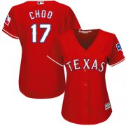 Wholesale Cheap Rangers #17 Shin-Soo Choo Red Alternate Women's Stitched MLB Jersey