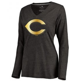 Wholesale Cheap Women\'s Cincinnati Reds Gold Collection Long Sleeve V-Neck Tri-Blend T-Shirt Black