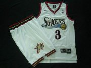 Wholesale Cheap Philadelphia 76ers 3 A.Iverson white color Swingman Basketball Suit