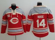 Wholesale Cheap Reds #14 Pete Rose Red Sawyer Hooded Sweatshirt MLB Hoodie