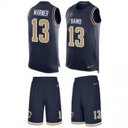 Wholesale Cheap Nike Rams #13 Kurt Warner Navy Blue Team Color Men's Stitched NFL Limited Tank Top Suit Jersey