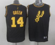 Wholesale Cheap San Antonio Spurs #14 Danny Green Revolution 30 Swingman 2014 Black With Gold Jersey
