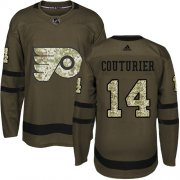 Wholesale Cheap Adidas Flyers #14 Sean Couturier Green Salute to Service Stitched Youth NHL Jersey