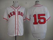 Wholesale Cheap Red Sox #15 Dustin Pedroia White 1936 Turn Back The Clock Stitched MLB Jersey