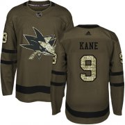 Wholesale Cheap Adidas Sharks #9 Evander Kane Green Salute to Service Stitched Youth NHL Jersey