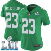 Wholesale Cheap Nike Eagles #23 Rodney McLeod Jr Green Super Bowl LII Women's Stitched NFL Limited Rush Jersey