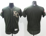 Wholesale Royals Blank Green Flexbase Authentic Collection Salute to Service Stitched Baseball Jersey