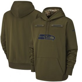 Wholesale Cheap Men\'s Seattle Seahawks Nike Olive Salute to Service Sideline Therma Performance Pullover Hoodie