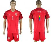 Wholesale Cheap USA #1 Solo Red Rainbow Soccer Country Jersey