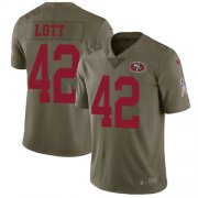 Wholesale Cheap Nike 49ers #42 Ronnie Lott Olive Youth Stitched NFL Limited 2017 Salute to Service Jersey