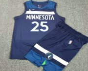 Wholesale Cheap Men's Minnesota Timberwolves #25 Derrick Rose New Navy Blue 2017-2018 Nike Swingman Stitched NBA Jersey With Shorts